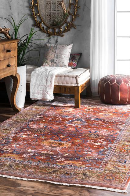 Traditional Sunset Leaflet Fringe Kilim Area Rug, Rust, 5&x27;x7&x27;9.