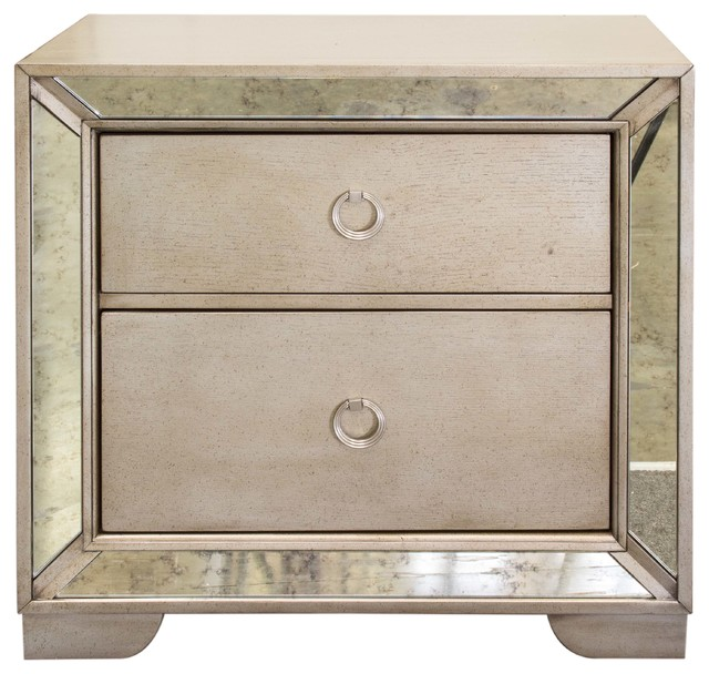 Ava Mirrored Silver Bronzed Nightstand traditional nightstands  and bedside tables. Ava Mirrored Silver Bronzed Nightstand   Traditional   Nightstands