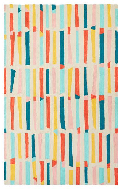 Petit Collage By Jaipur Living Sticks Handmade Stripe Multicolor Area Rug, 2&x27;x3&x27;.