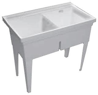 Proflo Pflt4024w Double Basin Wall Mounted Laundry Sink Contemporary Utility Sinks By Buildcom Houzz