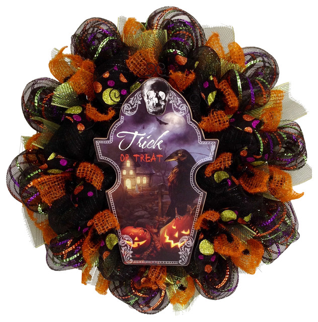 Spooky Trick Or Treat Raven Deco Mesh Halloween Wreath.