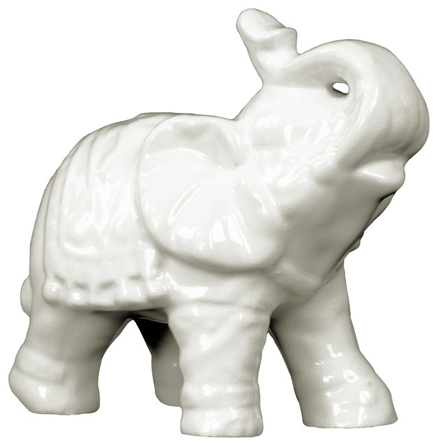 Urban Trends Ceramic Elephant Statue With White
