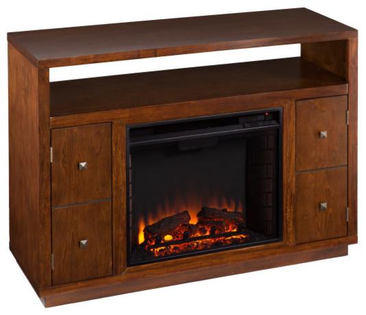 brentford media electric fireplace dark tobacco rustic