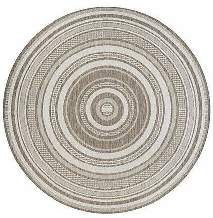 Stripe Taupe Round Outdoor Rugs
