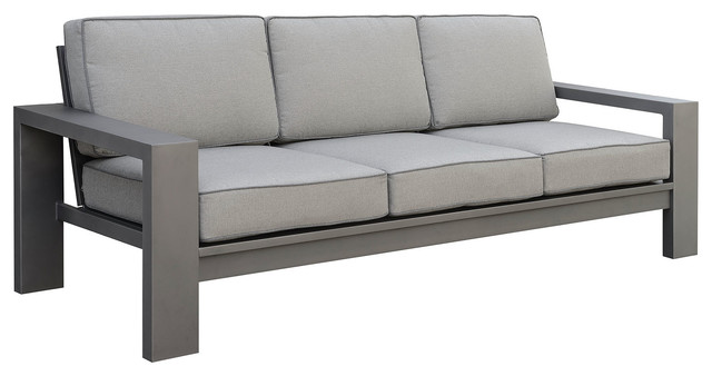 3-Seater Aluminum Framed Sofa With Water-Resistant Seat and Back Cushions,  Gray