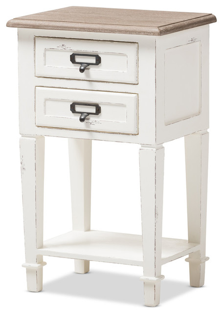 Wholesale Interiors   Dauphine Weathered Oak And White Wash Distressed  Finish Wood Nightstand   Nightstands And