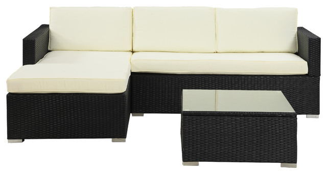 Outdoor Sectional Wicker Sofa Set With Coffee Table, Beige Tropical Outdoor  Lounge