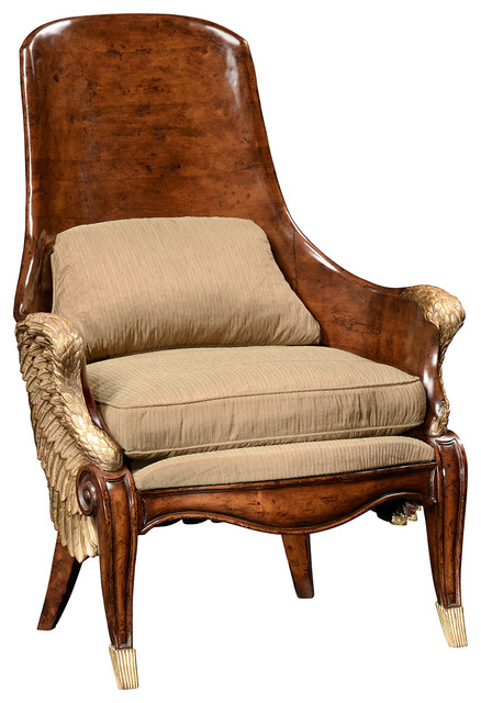 Jonathan Charles Empire Style Winged Chair 494537  Traditional Armchairs And Accent Chairs