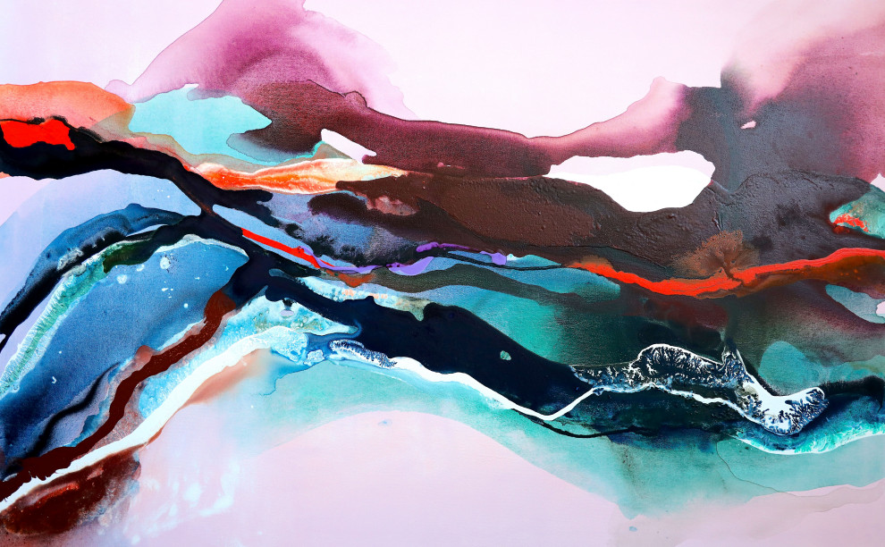 Original Abstract Pretty Purple Painting Fluid Acrylic Pour Painting on Canvas Purple Pink  OOAK Bubbles VarnishedUV Protected