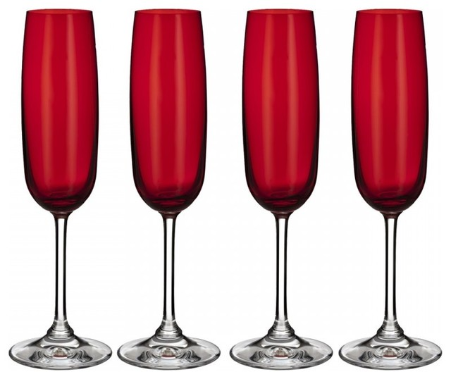 Marquis waterford vintage red flutes set of 4 contemporary wine glasses by happily ever - Waterford colored wine glasses ...