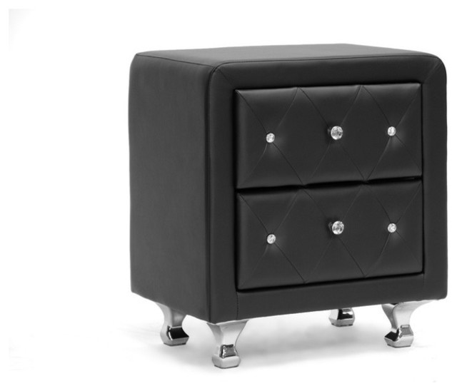 Baxton Studio Stella Crystal Tufted Black Upholstered Modern Nightstand.