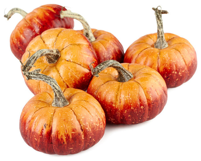 Rustic Orange Artificial Pumpkins, Set Of 6.