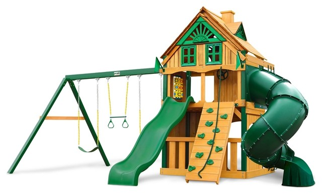 mountaineer clubhouse treehouse swing set with fort add on and amber posts contemporary kids. Black Bedroom Furniture Sets. Home Design Ideas