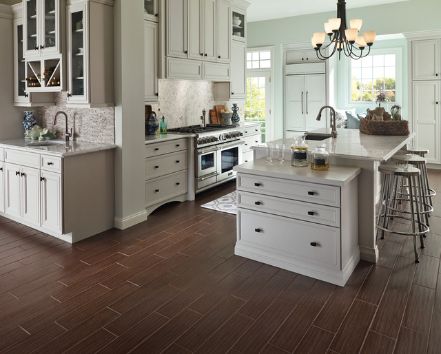Wood Look Porcelain Tile Farmhouse Kitchen