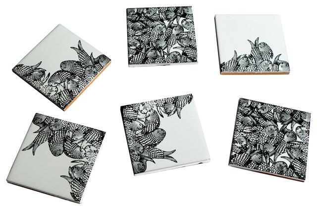 Fish Ceramic Coasters, Set of 6