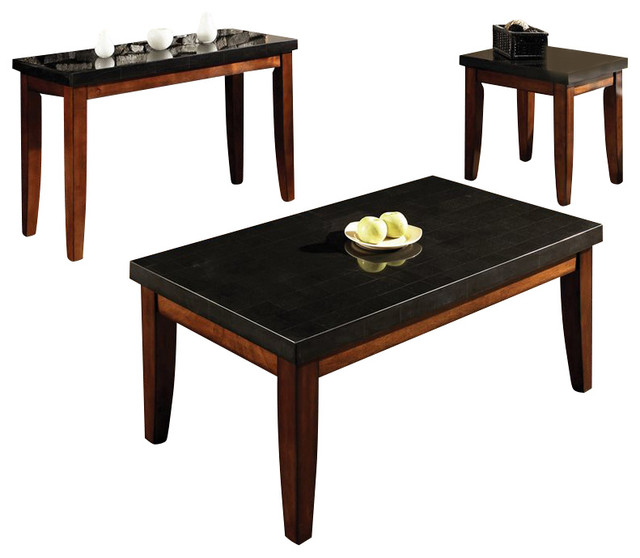 Shop Houzz Steve Silver Company Montibello Rectangular 3 Piece Coffee Table Set In Cherry