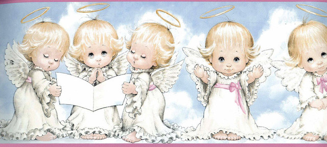 White Baby Angels Blessing Wallpaper Border Roll