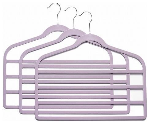 Slim-Line Lavender Multi Pant Hanger, Set Of 3.