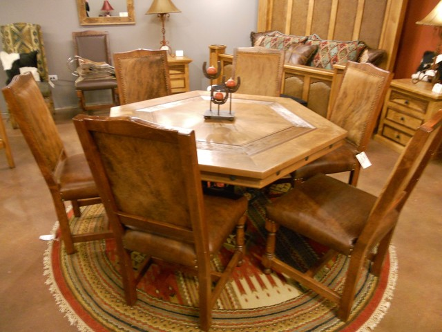 Hacienda Poker Table Rustic Dining Tables