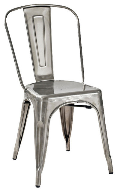 amelia metal cafe chair, set of 2, galvanized - industrial