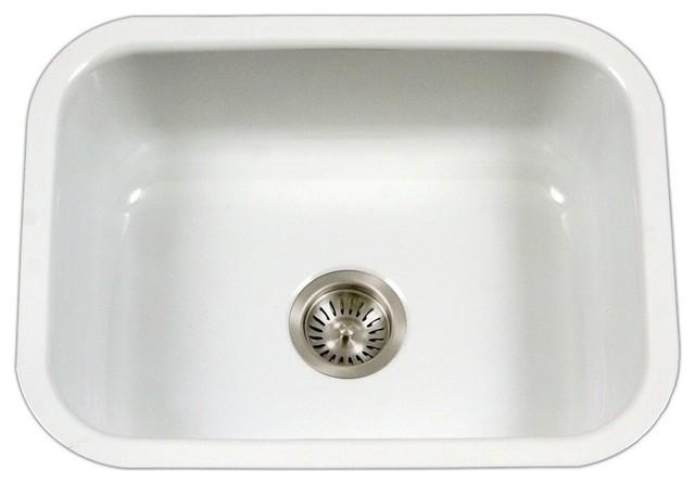 Porcelain Enamel Steel Bowl Kitchen Sink, White.