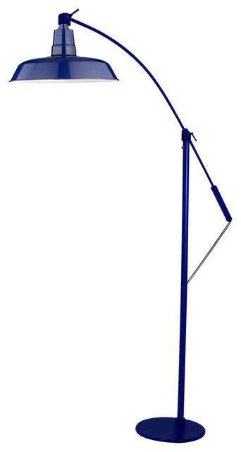 """12"""" Oldage LED Industrial Floor Lamp, Cobalt Blue"""