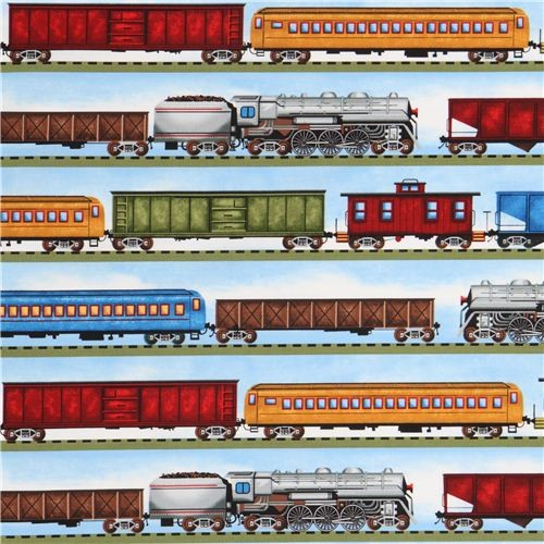 blue freight train in stripes fabric by Timeless Treasures