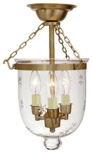 Small Semi Flush Bell Jar Lantern With Star Glass, Rubbed Brass.