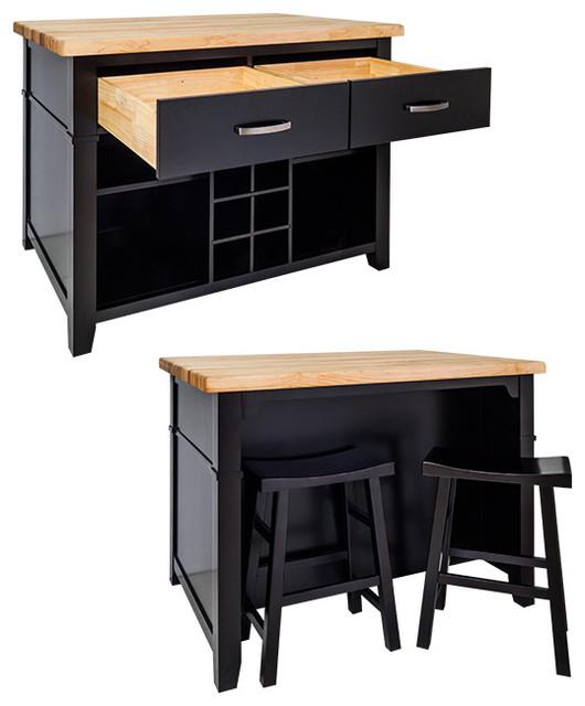 delray kitchen island with bar stools black