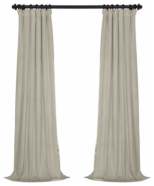 "Signature Blackout Velvet Curtain Single Panel, Cool Beige, 50""x96"""