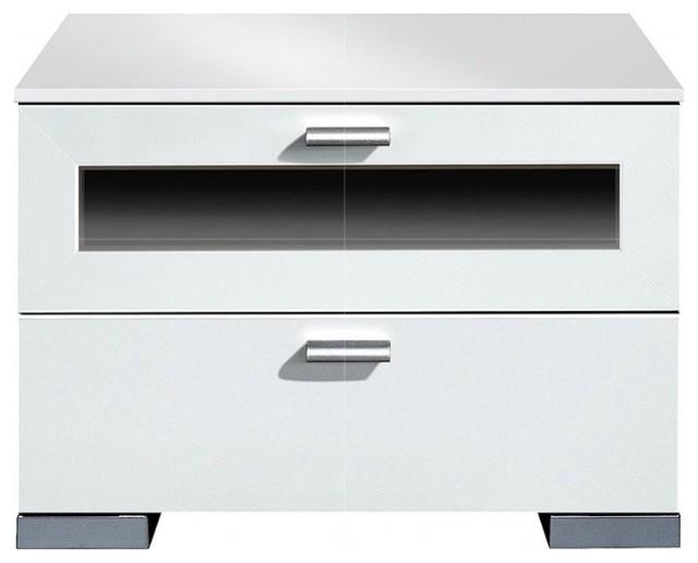 Chevet design gallery plus 2 tiroirs blanc et verre noir - Chevet architectuur ...