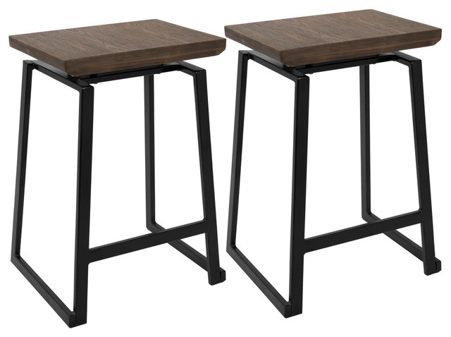 LumiSource Geo Counter Stool, Black With Brown Wood Seat, Set of 2