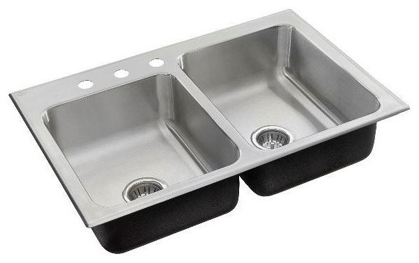 Just offset double bowl drop in 19x33x7 5 stainless steel for Just ss sinks
