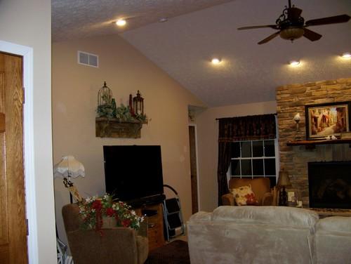 open floor plan using 2 paint colors. Black Bedroom Furniture Sets. Home Design Ideas