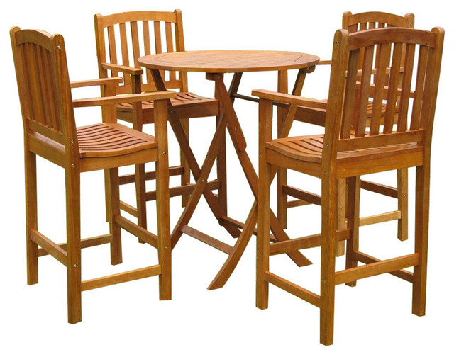 Pontevedra Set Of 5 Bar Height Table Group,brown Stain.