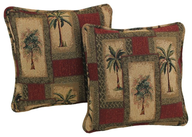 """18"""" Tapestry Square Throw Pillow Inserts Set of 2, Palm Springs"""