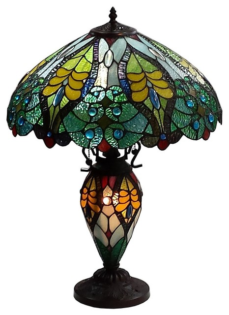 Amora Lighting Tiffany Style Floral Table Lamp Double Lit Lighted