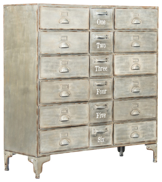 Rhine Loft Gray Wash 18 Drawer Numbered Metal Cabinet