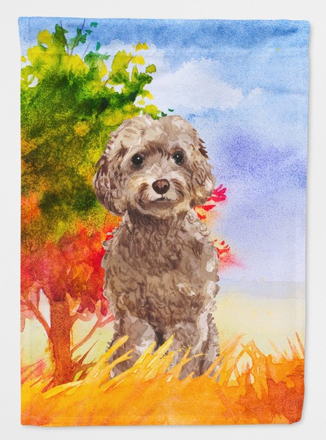 Fall Chocolate Labradoodle Flag Canvas House Size