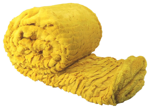 Air Brushed Colleen Oversized Faux Fur Throw Blanket, Lemon Curry Yellow.