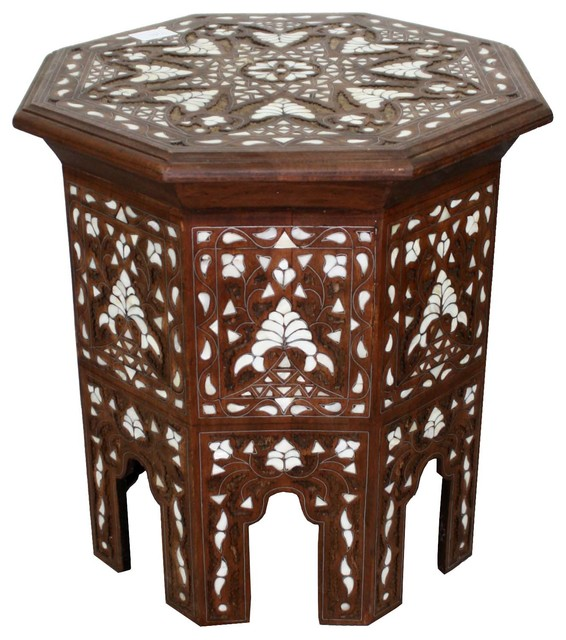 Moroccan White Mother Of Pearl Inlay Side Table