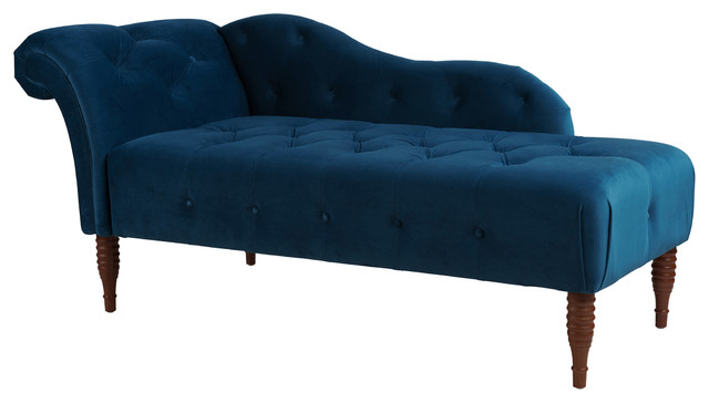 Samuel Chaise Lounge, Right Arm Facing, Satin Teal.
