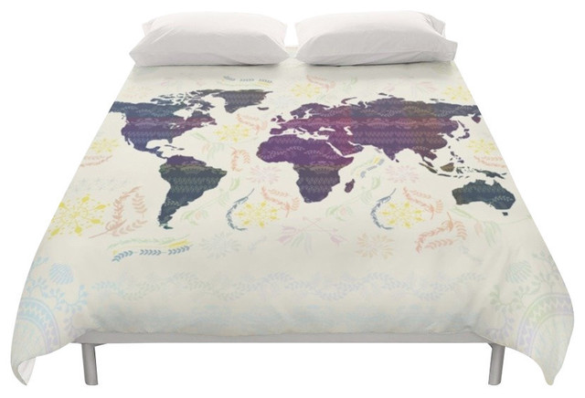 World map boho duvet cover duvet covers and duvet sets by famenxt world map boho duvet cover full gumiabroncs Images