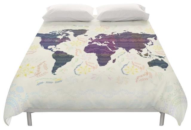 World Map Boho Duvet Cover - Duvet Covers And Duvet Sets - by Famenxt