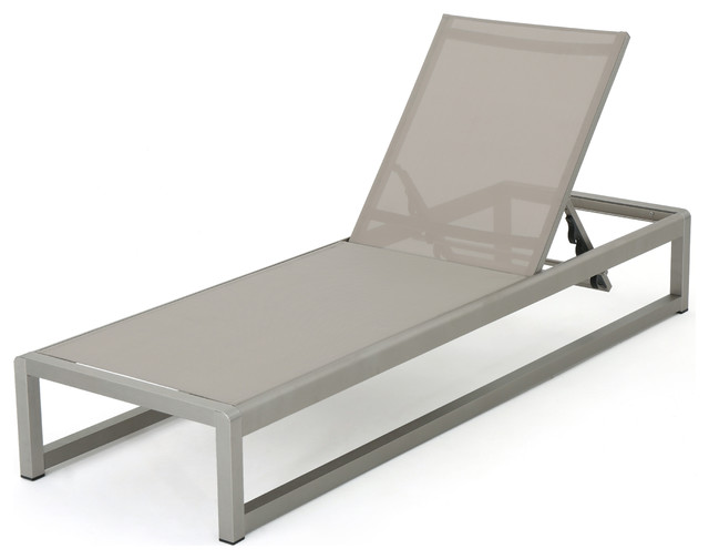 San Luis Outdoor Gray Mesh Chaise Lounge With Silver Aluminum Frame Single