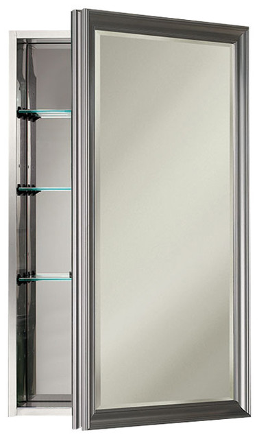 "Studio V 15"" x 25"" Satin Nickel Medicine Cabinet - Contemporary - Medicine Cabinets - by Luxury ..."