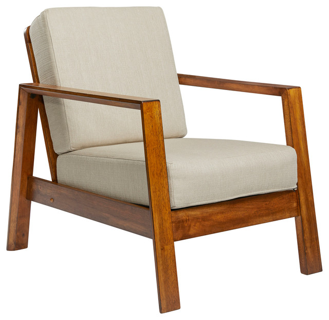 Carlyle Mid Century Modern Arm Chair With Exposed Wood Frame