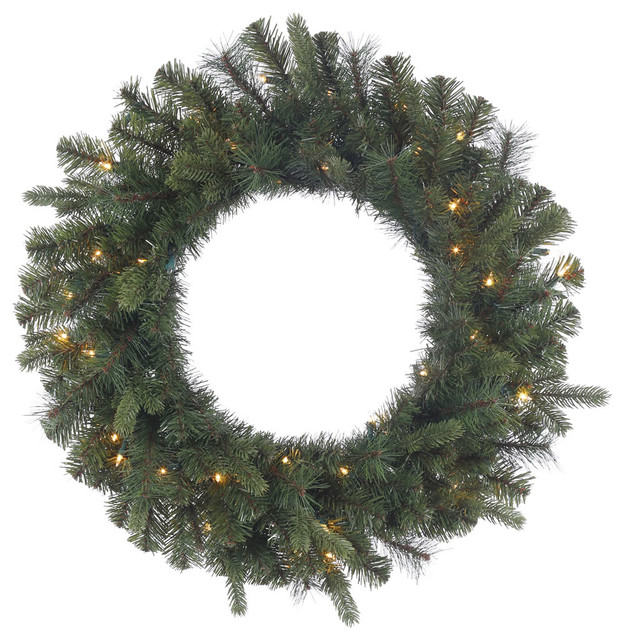 """Classic Mixed Pine Wreath With Clear Lights, 30""""."""