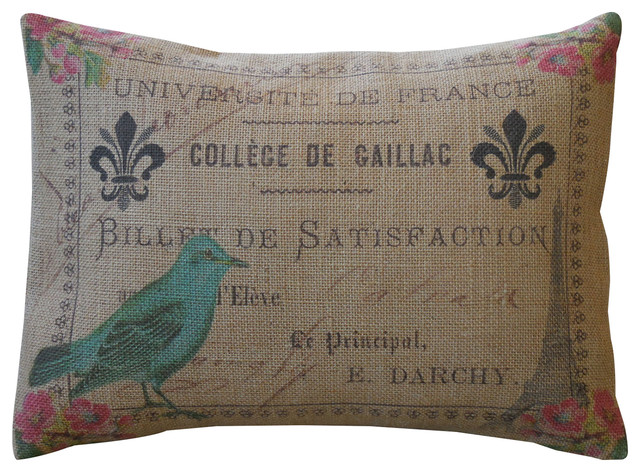 "Paris Postmark Burlap Pillow, Shabby Chic,, 12""x16""."