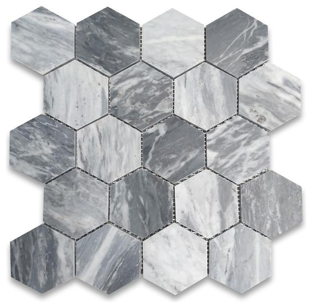 "12.25""x10.75"" Bardiglio Gray Hexagon Mosaic Tile Honed ..."